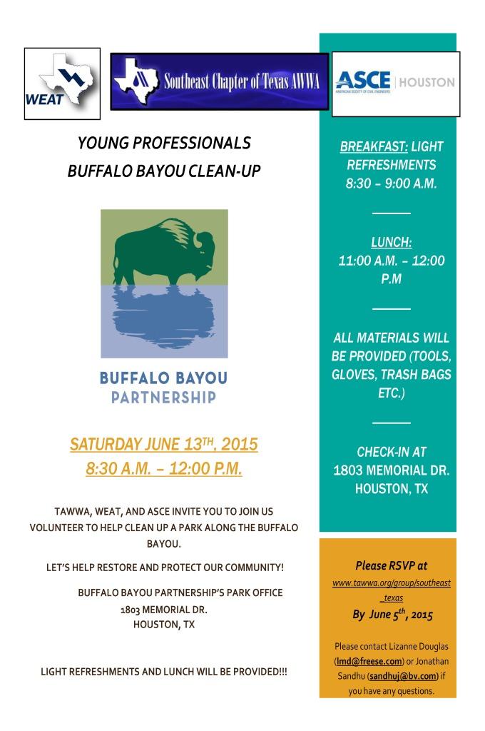 2015-06-13 TAWWA Buffalo Bayou Clean-up Flyer