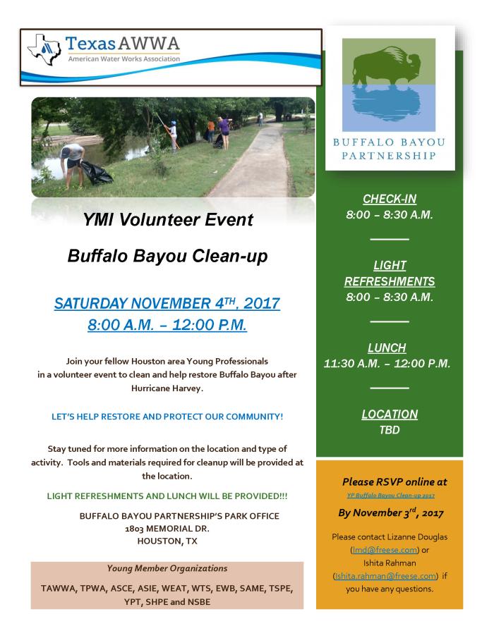 TAWWA-YMI Buffalo Bayou Clean-up