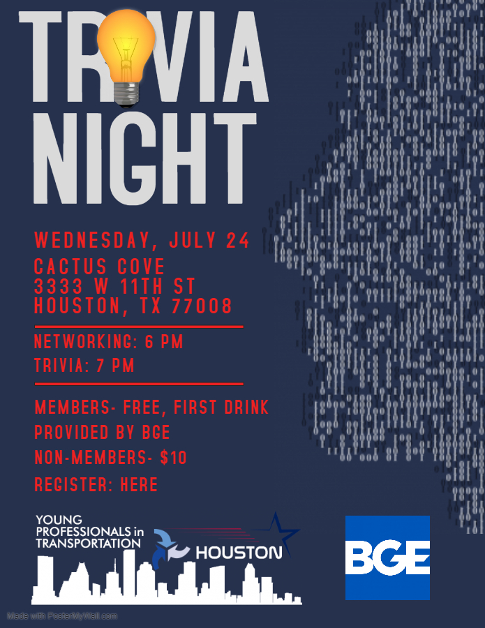 Flyer for Trivia with YPT Houston.